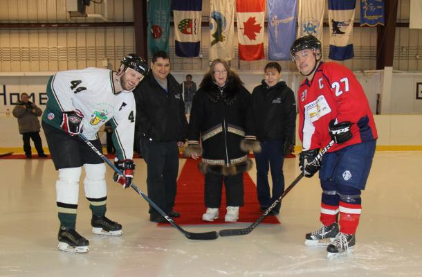 Ceremonial puck drop at the IRC Native Hockey Tournament in Inuvik.