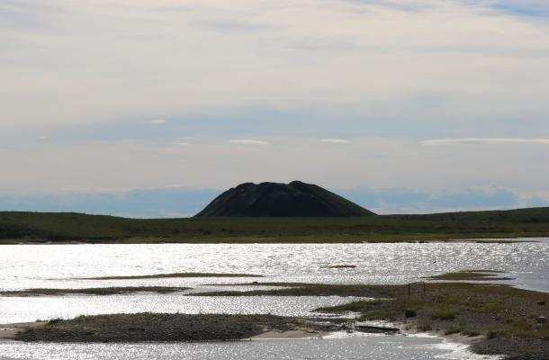 A pingo seen in the distance near Tuktoyaktuk.