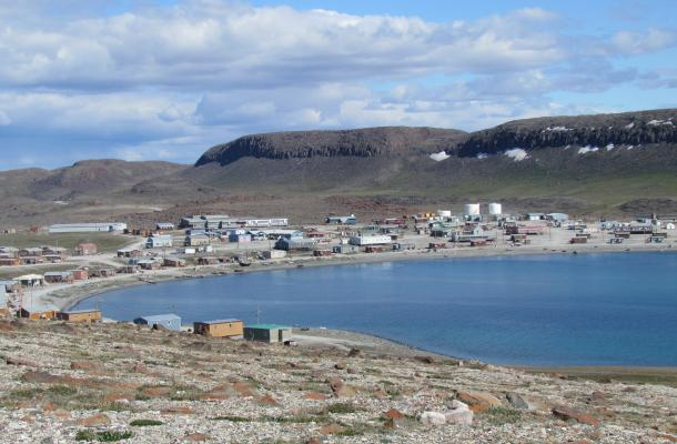 A view of Ulukhaktok from outside town.