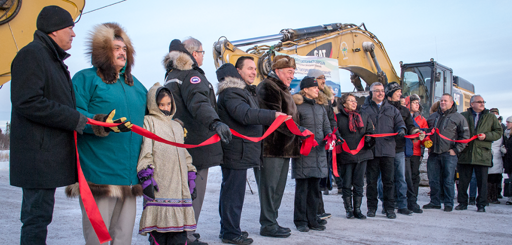 Ribbon cutting ceremony marking the official opening of the Inuvik Tuktoyaktuk Highway